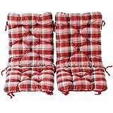 Ambientehome Juego de 2cojines acolchados para silla plegable, cuadros rojo, ca 90x 40x 8cm, cojín asiento