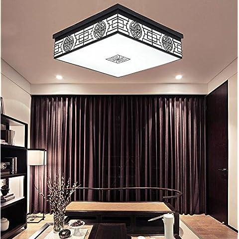 APSD-Iluminación cálida Chino, moderno, lámpara, salón, cuadrado, vintage, hierro forjado, comedor, dormitorio, clásico, de techo den, 52 * 52cm)