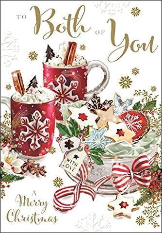 Carte de Noël (Jj6911) both of you–Noël Biscuits et tasses de chocolat chaud–gui Kisses