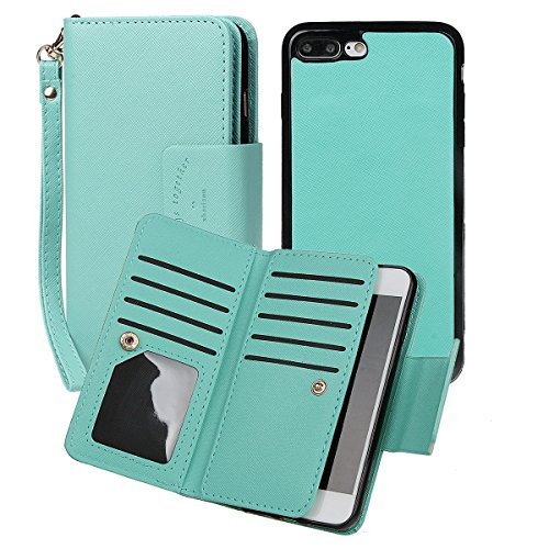 """xhorizon [Aktualisiert] [Luxusgold] [Erklassig] [Magnetisch Auto Mount Kompatible] Premium PU Leder Magnetisch Abnehmbar Mappen Kasten Abdeckung mit Kartensteckplätze Auto-Funktionen iPhone 7 (4.7"""") Mint Green"""