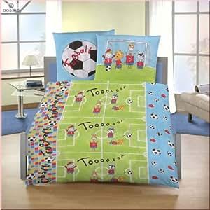 parure de lit b b en flanelle football taie d 39 oreiller 80x80 cm housse de couette 135x200. Black Bedroom Furniture Sets. Home Design Ideas