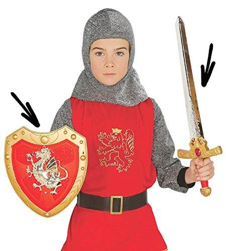 Jungen Mädchen Drachen Ritter Schwert Schild Mittelalter Kostüm -