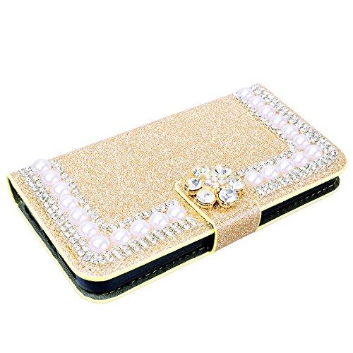 SMART LEGEND Lederhülle für iPhone 6 Plus/iPhone 6S Plus Ledertasche Glitzer Hülle Lila Bling Diamant Schutzhülle mit Kartenfach Handyhülle Premium PU Leder Flip Wallet Case Protective Cover Innere We Gold