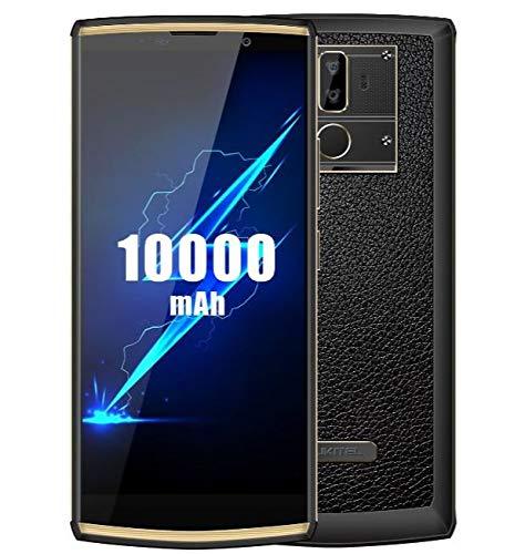 OUKITEL K7 Pro (2019) 4G Smartphone ohne Vertrag mit 10000 mAh Akku, 6,0 Zoll HD+ Display, Octa Core 2,0 GHz 4 GB RAM 64 GB ROM, Android 9.0 Dual-SIM-Handy, 13 MP + 2 MP + 5 MP Triple Camera Gold