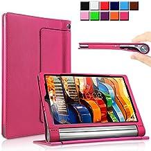 Yoga Tab 3 Pro/Yoga Tab 3 Plus 10 Funda Case, Infiland Folio PU Cuero Cascara Delgada con Soporte para Lenovo Yoga Tab 3 10 Pro / Yoga Tab 3 Plus 10.1 inch Tablet, Magenta