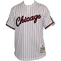 Chicago Bulls Mitchell & Ness Men's White Pinstriped Mesh Baseball Jersey Shirt
