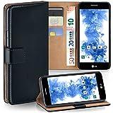 LG K8 (2017) Hülle Schwarz mit Karten-Fach [OneFlow 360° Book Klapp-Hülle] Handytasche Kunst-Leder Handyhülle für LG K8 (2017) Case Flip Cover Schutzhülle Tasche
