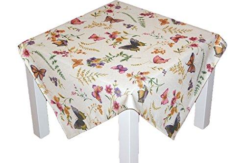 entzückende TISCHDECKE 85x85 cm eckig pflegeleicht creme Schmetterlinge bunt SOMMER Gartentischdecke Küchendecke Motivdruck (Mitteldecke 85x85 cm)