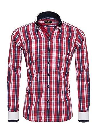 Giorgio Capone Herrenhemd, 100% Baumwolle, weiß-Blau-Rot-Kariert, Doppelkragen, Langarm, Slim & Regular Fit (XL (Easy Care Leinenhemd)