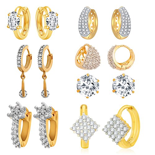 Jewels Galaxy White American Diamond Combo Of 7 Hoop Earrings For Women