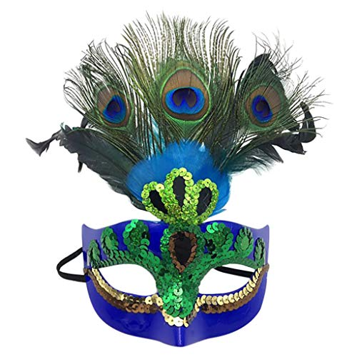 Mitlfuny Halloween coustems Kürbis Hexe Cosplay Gast Ghost Schicke Party Halloween deko,Frauen venezianischen Pfauenmaske Maskerade Kostümfest Prinzessin Federmasken