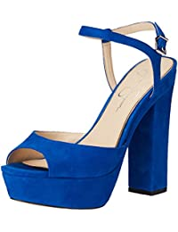 Jessica Simpson Women's Lorinna Heeled Sandal, Electric Suede, 5.5 Medium US