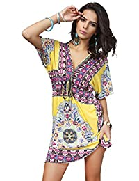 Phenovo Women Girls Ladies Mini Short Sleeves V Neck Summer Dress Clothing Outfit Accessory Yellow L