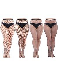 4f428b0b8fb Aneco 4 Pairs Plus Size Fishnets Tights Sexy Black Fishnet Pantyhose  Stockings Cross Mesh Tights Thigh