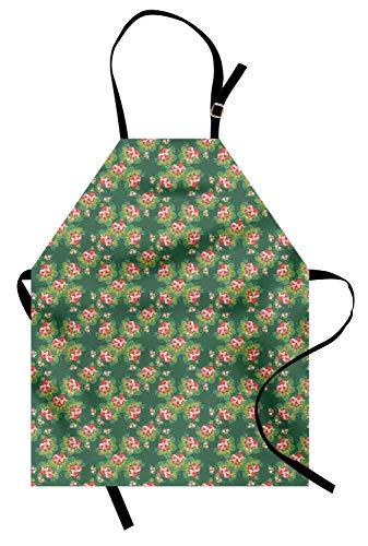 Floral Schürze, Muster im traditionellen russischen Stil Vintage ethnische Volksverzierung, Unisex-Küche Latzschürze mit verstellbarem Hals zum Kochen Backen Gartenarbeit, Reseda Green Coral und ()