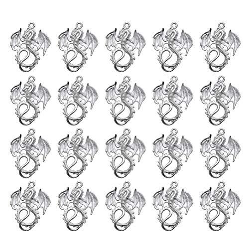 FENICAL 20 Stück Schmuckherstellung Charms Retro Legierung Drachenform Anhänger Charms DIY Schmuckherstellung Zubehör (Silber)