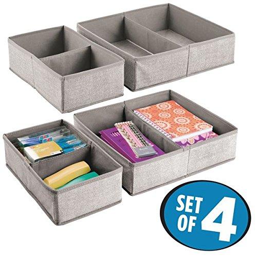 mDesign 4er-Set Schubladen Organizer mit jeweils 2 Fächern – Stoff Aufbewahrungsboxen für Schreibwaren – große Schubladeneinsätze für Stifte, Haftnotizen, Büroklammern etc. – grau