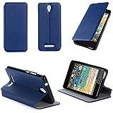 Etui luxe Acer Liquid Zest Plus 4G 2016 bleu Cuir Style avec stand - Housse Folio Flip Cover coque de protection Acer Zest + bleue - Accessoires pochette XEPTIO : Exceptional case !