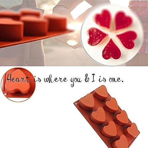 Didadi antiadhésif Silicone de qualité alimentaire gâteau Pain Moule pour Thanksgiving Chocolat Jelly Bonbons cuisson Moule Moule, (Glaçon)–forme de cœur 1 Pack