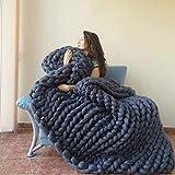 Decke Handgefertigtes Chunky Gestrickte Wolldecke Überwurf Mode Sofa Decken Yoga Matte Teppich Große Weiche Tagesdecke (Dunkelgrau, 130X170cm)