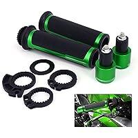 Poignées de guidon universel de moto caoutchouc souple anti-dérapant avec bouchons de bouchon pour Kawasak (vert) 22mm