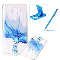 Clear Case for Huawei Honor 6X 2016,TPU Cover for Huawei Mate 9 Lite,Herzzer Ultra Slim Soft Gel Creative Colorful Pattern Design Shock-Absorbing Transparent Rubber Silicone Back Skin Protective Case for Huawei Honor 6X 2016/Mate 9 Lite + 1 x Free Blue Ce