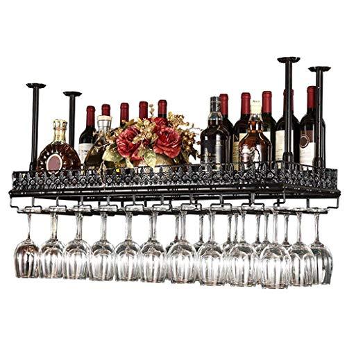 Weinglashalter Metall Decke Weinregale Lagerung, Schwarz Bronze Weinkelch Stemware Glas Rack, Hängende Weinglas Halter Bar Dekoration Display Regal (größe : 80×35cm) -