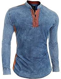 f83429e03d Camisa Vaquera Azul para Hombre V-Cuello Cuello Alto Parche de Codo Slim Fit