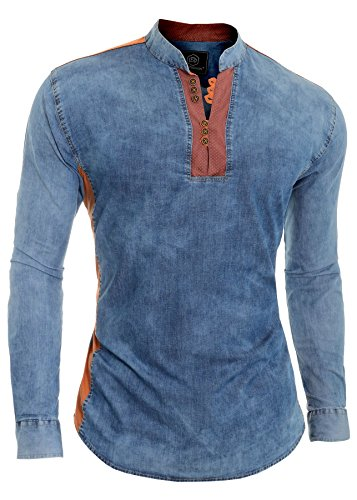 D&r fashion camicia in denim blu da uomo v-collo colletto alla coreana toppa sui gomiti xxl