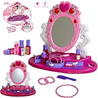 FunkyBuys® Girls Princess Glamour Mirror Dressing Vanity Table Beauty Play Set Light & Music Toy