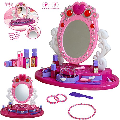FunkyBuys?Girls Princess Glamour Mirror Dressing Vanity Table Beauty Play Set Light & Music Toy by FunkyBuys