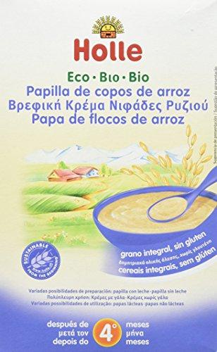 Papilla ecológica de copos de arroz HOLLE (6 paquetes de 250 gr)