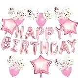 KUNGYO Decorazioni per Feste di Compleanno per Adulti e Bambini, Oro Rosa Happy Birthday Buon Compleanno Lettere Palloncini, Forniture per Feste