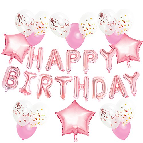 KUNGYO Rose Gold Geburtstagsparty Dekorationen Kit für Erwachsene Kinder-alles Gute zum Geburtstag Roségold