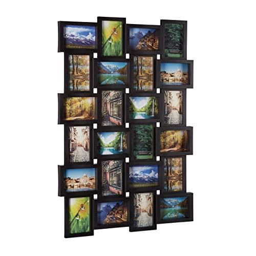 Relaxdays Bilderrahmen für 24 Fotos, Fotorahmen zum Hängen, Fotocollage selbst gestalten, HBT: 59 x 86 x 2,5 cm, schwarz
