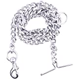 Sicons The Pet Safari Dog Chain Silver Grind No.8 (L - 60inch & W - 580gm) for Large Dogs