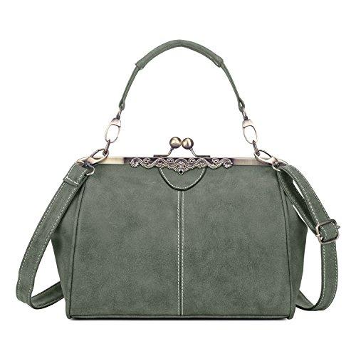 Vintage PU Leder Handtaschen Damen Henkeltaschen Umhängetaschen Schultertaschen Taschen für Frauen Mädchen - Armee Grau-grün