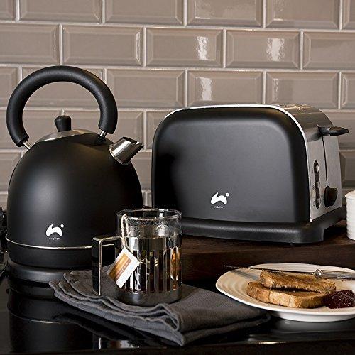 Ovation schwarz/silber groß Schnell kochen Dome Wasserkocher + breiter Einwurf 2-slice Toaster Set