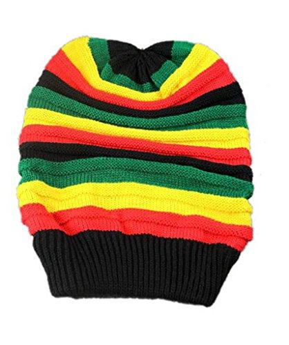 Bigood Hip-hop Bonnet Hiver Femme Homme Tricot Rayure Multicolore