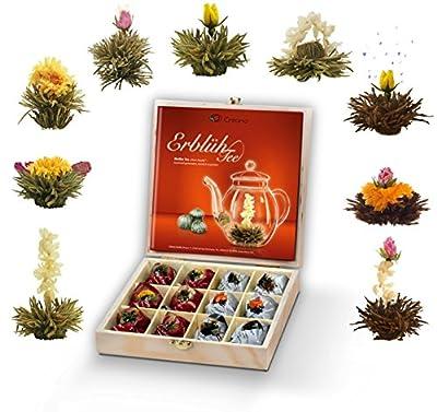 Mix de fleurs de thé blanc et noir - Cadeau dans le thé boîte en bois – 12 thés fleuris Thé blanc (9 sortes différentes de roses de thé blanc et noir)
