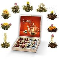 Creano Teeblumen Geschenkset in Teekiste aus Holz, 12 ErblühTee in 9 Sorten | Weißtee & Schwarztee