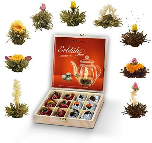 Creano set regalo flores té caja madera, 12 tés