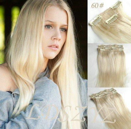 38 cm 7 Lot de 100% Remy Clip dans Extension de cheveux humains # 60 Blond platine, 70 g