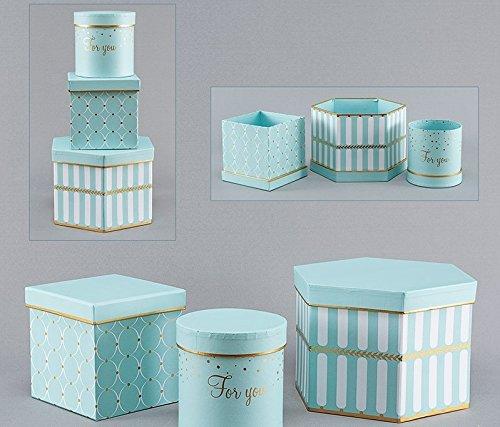 DECORPRO 3er Set Geschenkschachteln in Verschiedene Formen und Muster, Rund, Quadratisch, 6-Eckige Dekoboxen, Blumenbox, Dekoschachteln mit Aufschrift und Deckel, (Hellblau) (Runde Aufbewahrungsboxen)