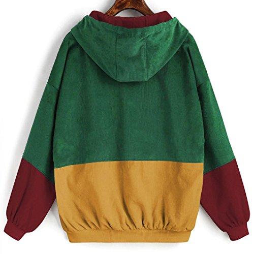 AIMEE7 Femmes à Manches Longues En Velours Côtelé Patchwork Surdimensionné Zipper Jacket Windbreaker Coat Pardessus Bourgogne