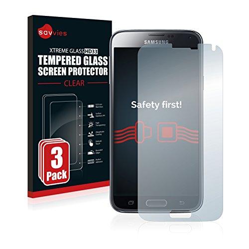 Savvies Panzerglas kompatibel mit Samsung Galaxy S5 / S5 Neo [3er Pack] - Echtglas Schutzfolie 9H