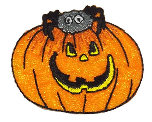 Halloween Kürbis Spider Orange gesticktes Eisen auf Aufnäher