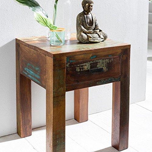 FineBuy Nachttisch DELHI 40 x 40 x 55cm Shabby Chic Recycling Mango Massiv Holz | Beistelltisch Klein Ablagetisch | Design Nachtschrank Braun Anstelltisch | Kleiner Vintage Couchtisch Wohnzimmer Tisch
