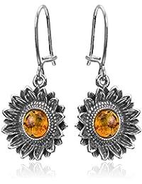 Honey Amber Sterling Silver Sunflower Earwire Earrings