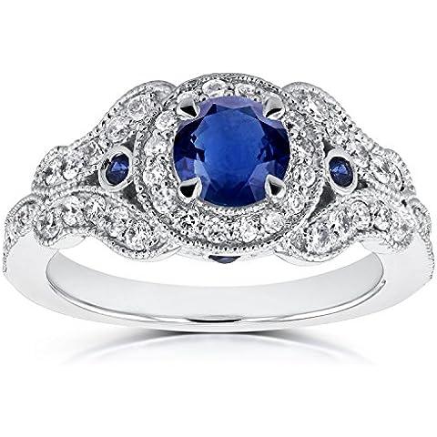 Envejecido Milgrain zafiro y anillo de compromiso de diamante 1Carat (quilate) en 14K oro blanco _